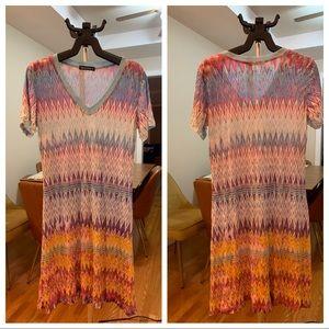 David Cline-v neck Crinkled T-Shirt dress